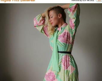 SPRING SALE 1960s Lurex Chevron Forest Dress~Size Medium to Large