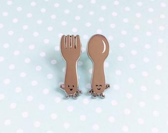 Fork and Spoon Enamel Pin SET of 2 (TWO) - cute cartoon utensil silverware kitchen kitchenware lapel