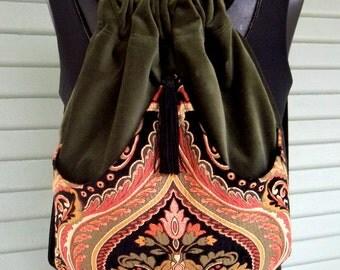 Classy Tapestry Backpack Olive Green Velvet Renaissance Backpack Coral and Green boho backpack boho slingbag
