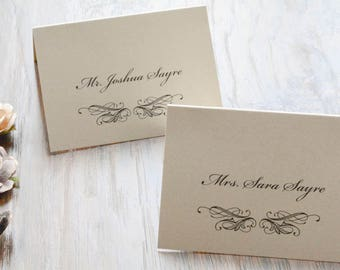 Champagne Gold Escort Cards | Vintage Wedding Reception Place Cards, Simple, Traditional - Sara & Joshua