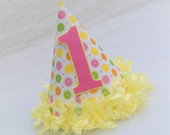 NEW Pink Lemons and Limes Party Hat - Lemonade stand birthday party, citrus party, pink lemonade, pink and yellow party