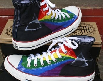 Adult sz 3-6.5 MADE to ORDER ... Hand Painted Dark Side of the Moon Converse Hi Top Sneakers