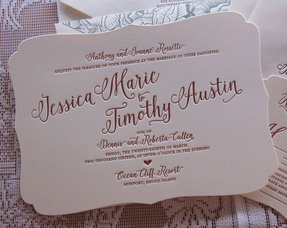 Letterpress Wedding Invitation, Wedding invitation, Calligraphic Wedding invitation, Classic wedding invitation, Custom invitation, Floral