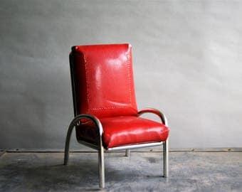 Vintage MCM Chair, Miniature Saleman's Sample, Red Vinyl and Chrome Mid Century Modern Machine Age
