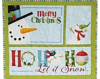 Quilted Wall Hanging Snowman Christmas Seasonal Print