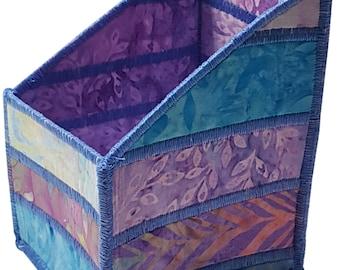 Pencil and Tool Organizer in Lavender and Blue Batik