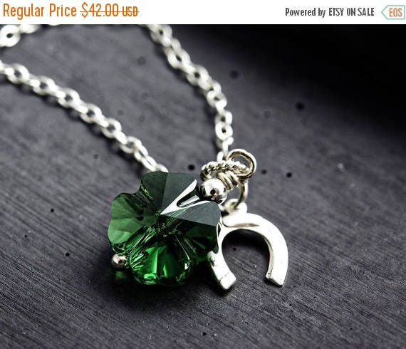 ON SALE, Shamrock Necklace, St. Patrick's Day, Lucky Clover, Emerald Green, Clover Pendant, Horseshoe, Lucky Charm, Crystal Clover, Crystal