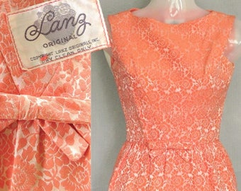 23.5 waist Vintage Lanz Dress / 1960s Cocktail Party Sheath Jackie O style / 60s Peach Brocade / Wedding and Garden Party XS Petite size