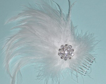 Closeout - White  Feather Wedding Fascinator with Rhinestone Accents