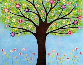 Sunlight Tree Painting Small Art Print Block, Ideal Small Gift, Home Decor Gift, Art Gift for Her, Gift for Kids