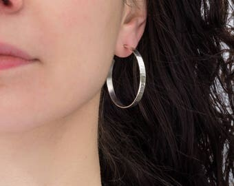 Solid silver hoop earrings for women/ 40mm wavy texture/ Hand made sterling silver hoop earrings/ Bridal gift for her/ Casual silver jewelry
