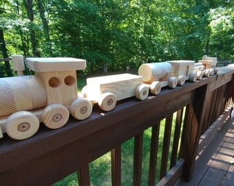 10 off! Last Day! Train Set Pine Wooden toys 6 Car  All Natural Pine  5 Foot Long