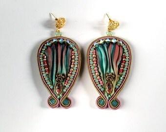 Shibori and soutache embroidered earrings
