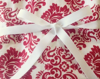 Large Red and White Damask Swaddler