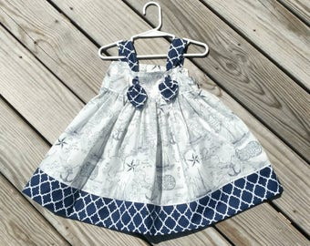 Nautical Dress - Toddler Girls Dress  - Navy Nautical Dress - Sailboats -  Girls Birthday Dress - Toddler Girl Dress -  Groovy Gurlz