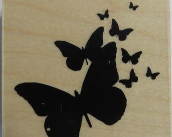 Hampton Art PS0056 Butterflies Silhouettes Wood Mounted Stamp  2.5 x 2.5 NEW