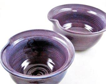 Purple pottery serving bowls, mixing bowls, nesting bowls, Batter bowls, set of 2 Thumb bowls - In stock