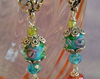 Turquoise lampwork  earrings