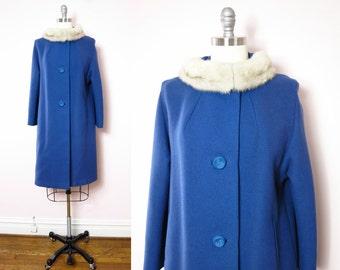 Vintage Blue Coat   1960s Blue Wool Mink Trim Coat M/L   60s Mod Blue Coat