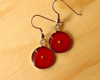 Bright Red Mustard Seed Earrings - Bright Silver Mustard Seed Earrings - Mustard Seed Dangly Earrings - Mustard Seed Jewelry - Faith Jewelry