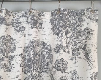 Grey Toile Shower Curtain 72 X Or 84