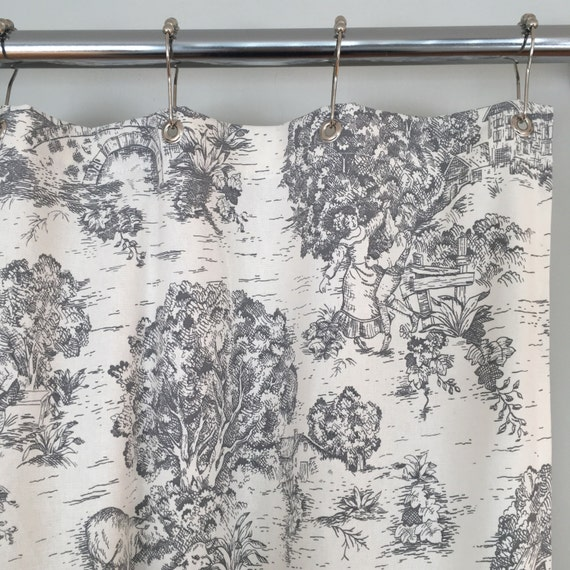 grey toile shower curtain. Black Bedroom Furniture Sets. Home Design Ideas