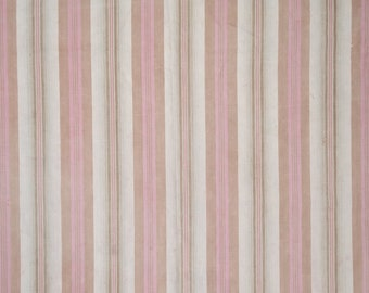 French antique ticking in beige & pink stripes