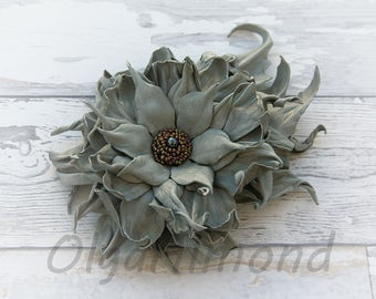 Leather flower. Leather brooch .Gray flower brooch .Fantasy Leather jewelry