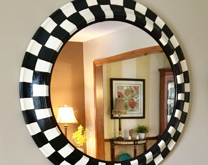Whimsical Painted mirror // round black and white checked mirror // wall mirror