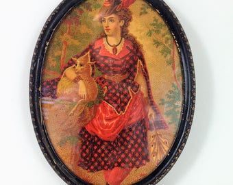 Vintage Small Oval Picture of a Victorian Country Woman in a Red and Black Checker Dress with Feather Hat, Holding a Lamb