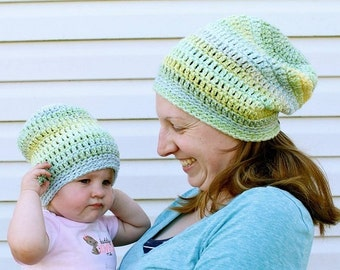Crochet Mommy and Me Slouchy Hats - Crochet Slouchy, Mommy & Me Set, Crocheted, Handmade, Winter Beanie, Mommy and Me Hats, Custom Order