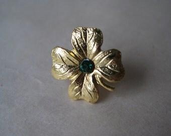 Shamrock Green Gold Lapel Pin Tie Tack Brooch Vintage Rhinestone Irish Ireland St. Patrick's Day 4 Leaf Clover