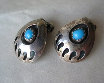 Bear Claw Turquoise Sterling Earrings Clip Vintage 925 Southwest Stone