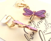 "Earrings, Purple Dragonflies  Gold Plated Leverback Ear wires, 1 1/2"", Gift for her, Dragonfly Lover Gift"