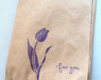 "10 Paper Bags,Gift Bags, 6x4"", Purple Flower ""for you"" stamped, Packaging Supplies, Party Favor Bags"
