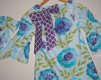 "Tunic Dress America Girl doll dress  turquoise blue floral dress matching 18"" doll dress  2t,3t,4t,5t,6,7,8,10"