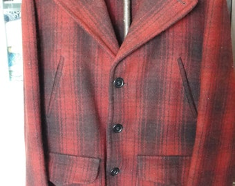 Vintage Sterling wool hunting jacket Red and Black plaid made for JC Penny Large game pouch on back