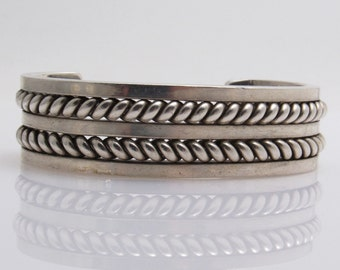Heavy Sterling Cuff Bracelet Vintage Harry R Morgan Jewelry Wide Bracelet B7614