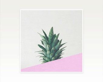 Pineapple Art, Tropical Fruit Print, Abstract Photography, Minimal Pink and Green Wall Decor - Pineapple Dip