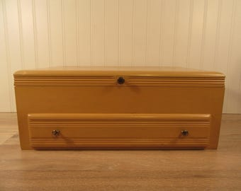Vintage Sharfmans Eureka Pacific Silver Cloth flatware mustard yellow utensil box with hinged lid, bottom drawer- anti tarnish  interior,