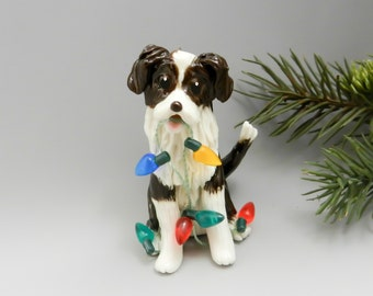 Border Collie Liver Brown Christmas Ornament Figurine Porcelain