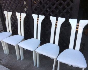 Five Mid Century White Lacquer Chairs - Pietro Constantini Style Italian White Dining Chairs - Vintage Italian Dining Chairs - Avant Garde