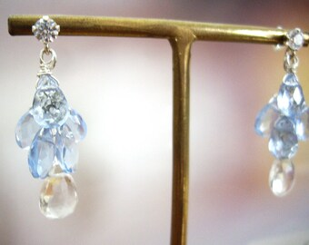 Something blue wedding earrings, Colorless quartz and blue quartz, Cluster earrings, CZ post earrings, Sterling silver, Bridal jewelry