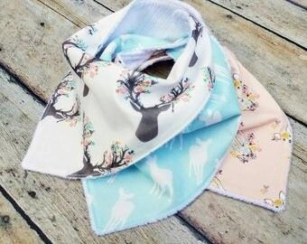 Baby Girl Bandana Bib, Pink and Blue Drool Bib, Baby Girl Gift Set, Deer Bandana Bib, Doe Bandana Bib