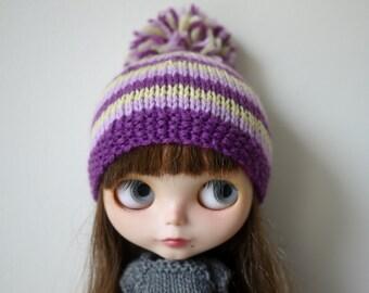 Blythe Hat - Purple Striped Pompom Hat