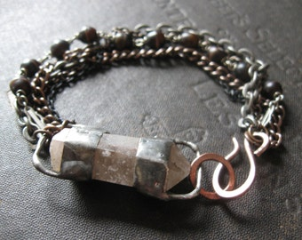 Tethered No. 5 - Rough Quartz Point Bracelet with Mixed Metal and Upcycled Rosary Beads
