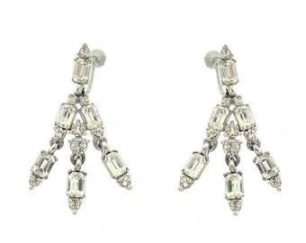Vintage Bogoff Designer Earrings, Fine Statement Vintage Dangles, 1930s Octagon Rhinestone Drops, Vintage Wedding Jewelry