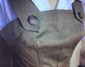 Darling 1940s style Rosie overalls  S M L Olive green herringbone twill