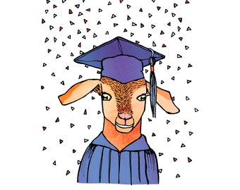 You did it, kid! - goat, humorous, whimsical, pen and ink, digital, funny, humor, graduation