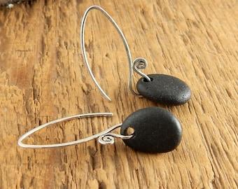 Fiddlehead beach stone earrings, black stone earrings, handmade sterling silver earwires, 1.5 inches long, ready to ship.